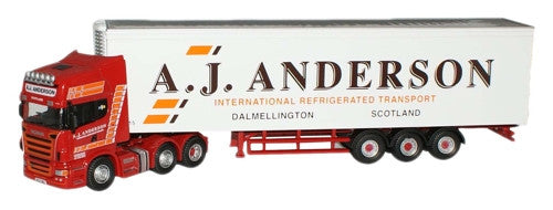 Oxford Diecast A J Anderson Scania  Fridge - 1:76 Scale - OxfordDiecast