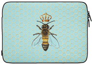 Blue Laptop Sleeve with Queen Bee design with crown