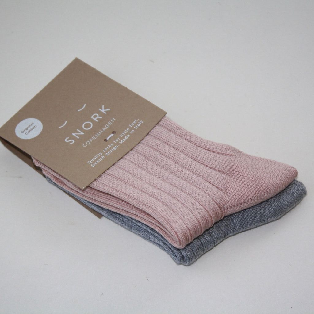 Organic Cotton Socks - 2-Pack Dusty Rose/Grey Melange