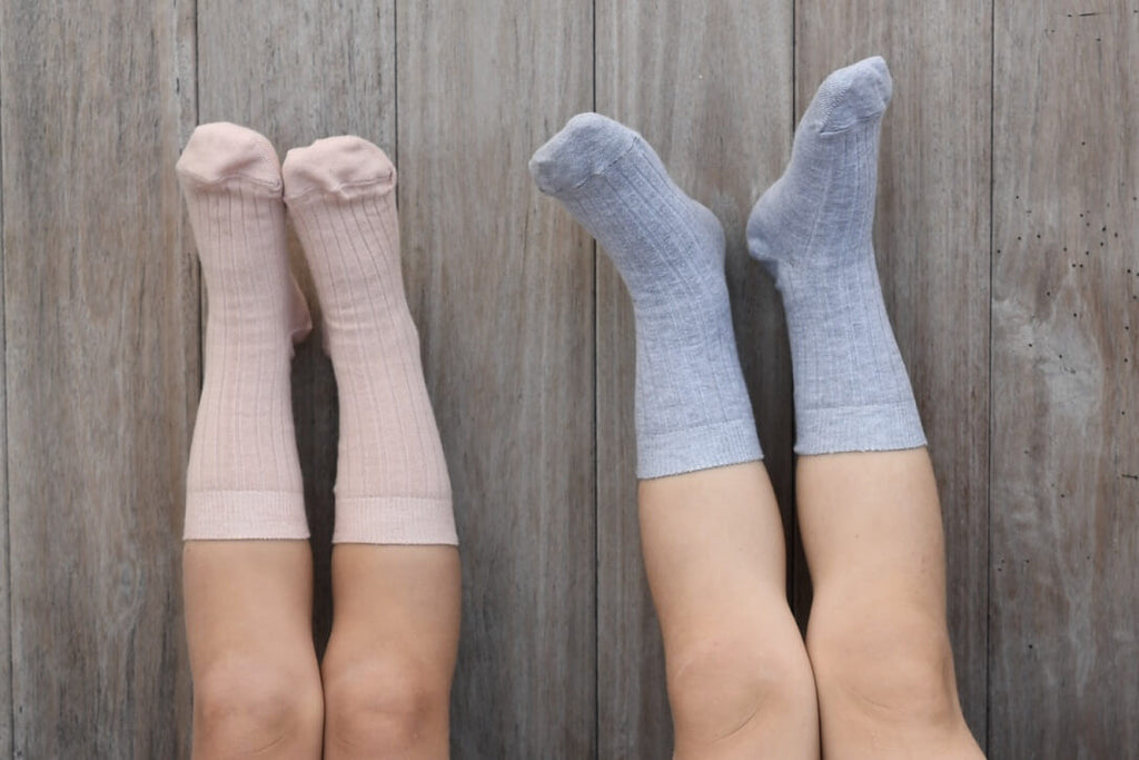 Organic Cotton Socks - 2-Pack Dusty Blue/Grey Melange