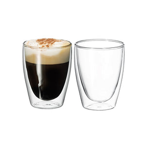 250ml Twin wall glass coffee cups