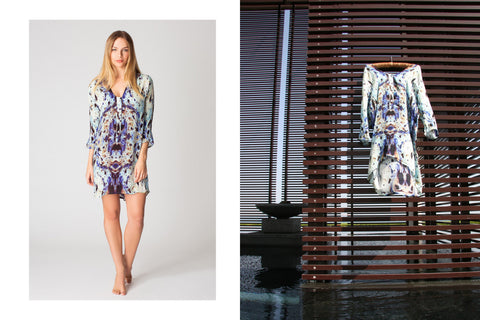 Our Novello Short Silk Dress in Marbled
