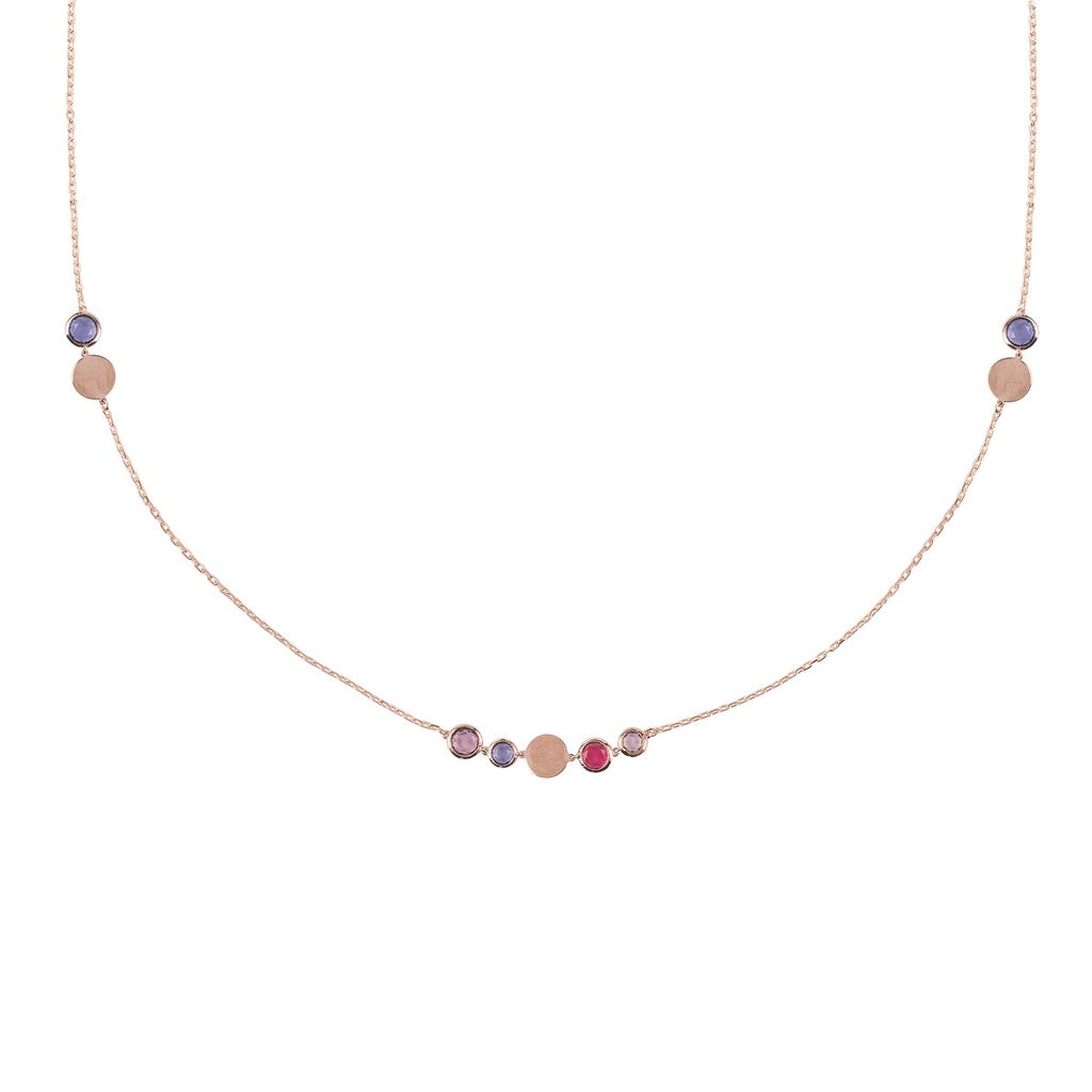 Amalfi Mixed Gemstone Rosegold Necklace