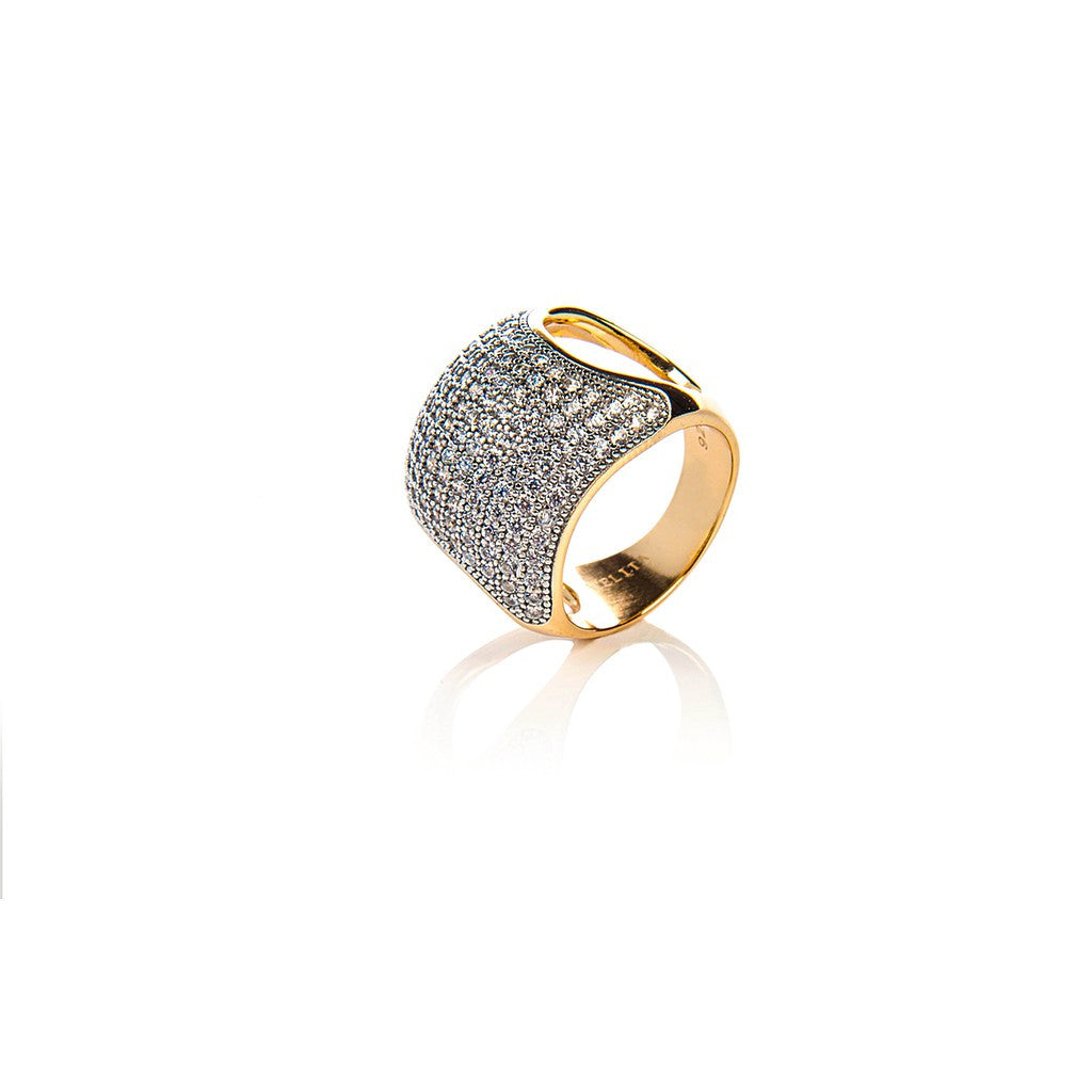 22ct Gold Vermeil Micro Pave Statement Cocktail  Cushion Ring - White Zircon