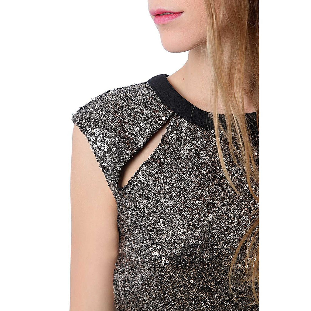 Golden sequin bodycon dress with open back