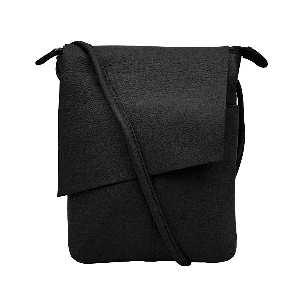 Leather Rawhide Flap Crossbody Bag - Black