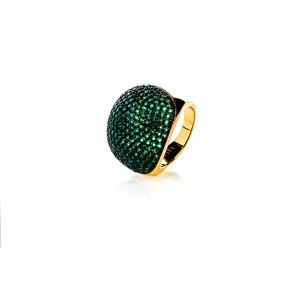 22ct Gold Vermeil Micro Pave Statement Cocktail  Ball Ring - Green Zircon