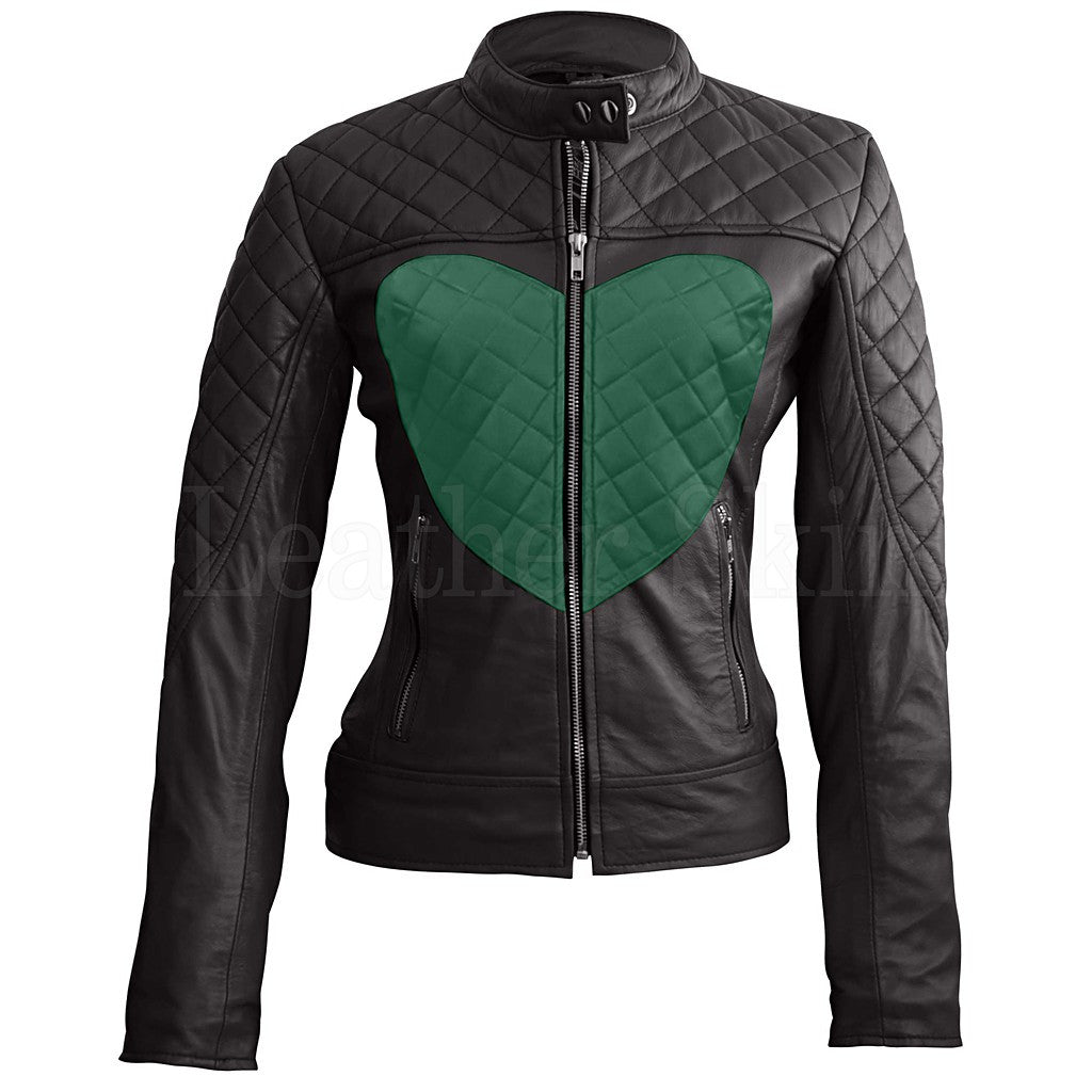 Women Black Heart Quilted Leather Jacket – Natalie