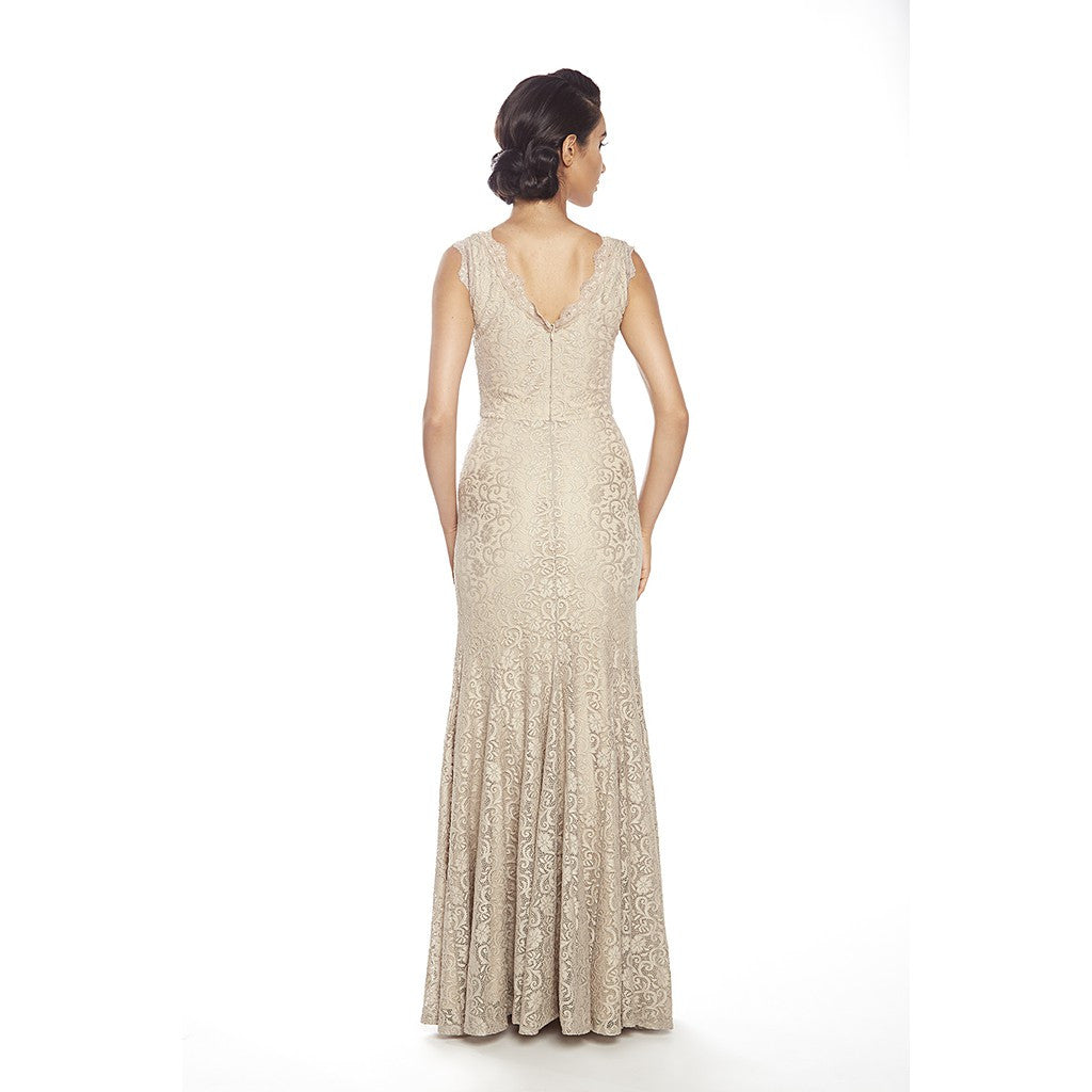 V front and back, european lace gown