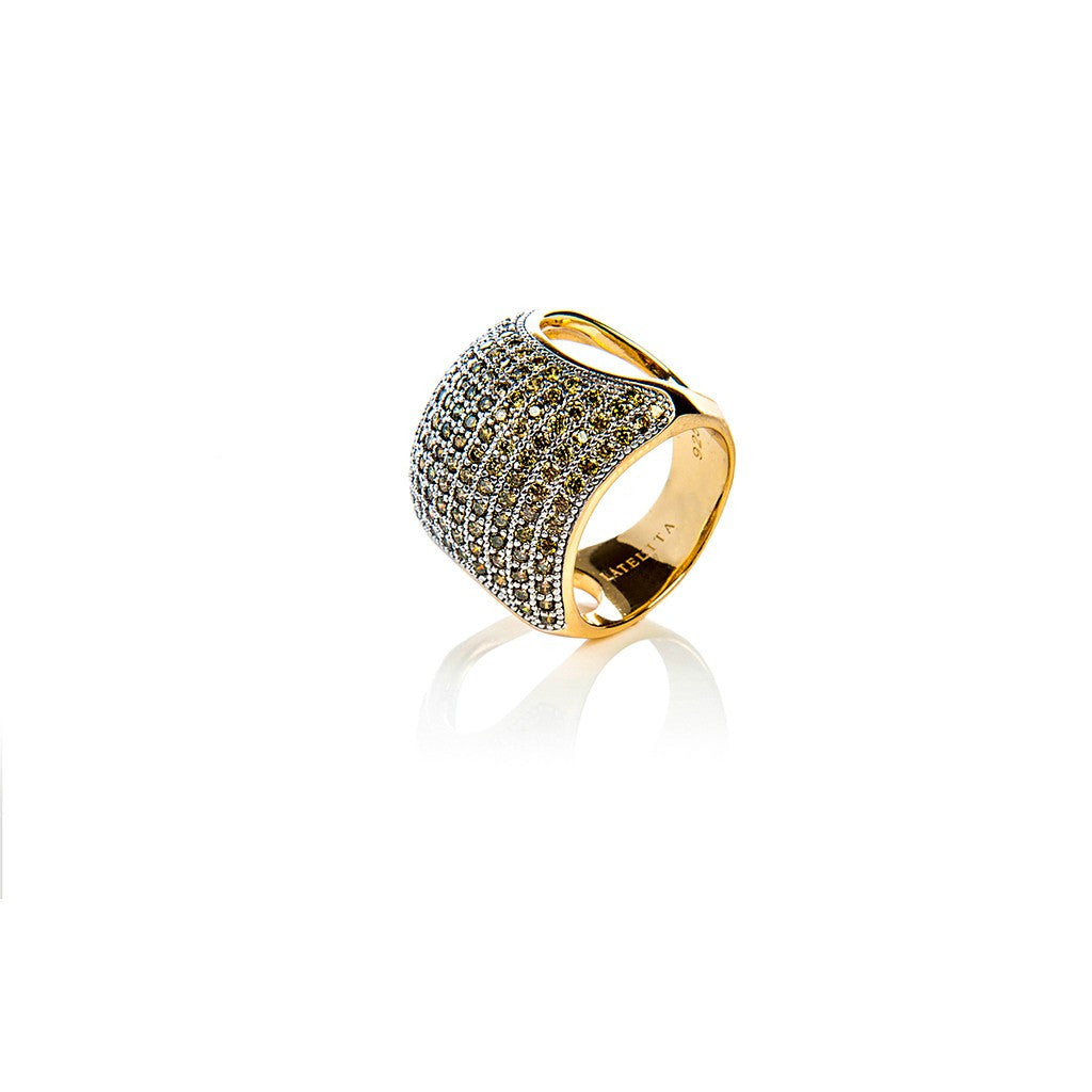 22ct Gold Vermeil Micro Pave Statement Cocktail  Cushion Ring - Peridot Zircon