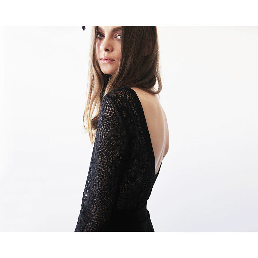 Backless black lace top , Lace long sleeves blouse