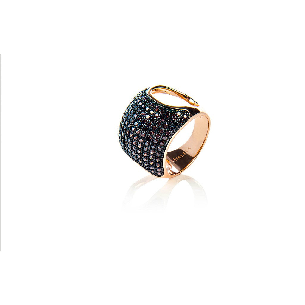 22ct Rose Gold Vermeil Micro Pave Statement Cocktail  Cushion Ring - Chocolate Zircon