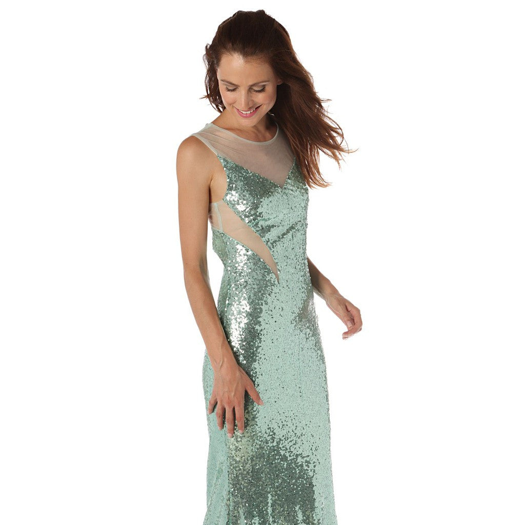 Sequin maxi dress with sheer mesh insert