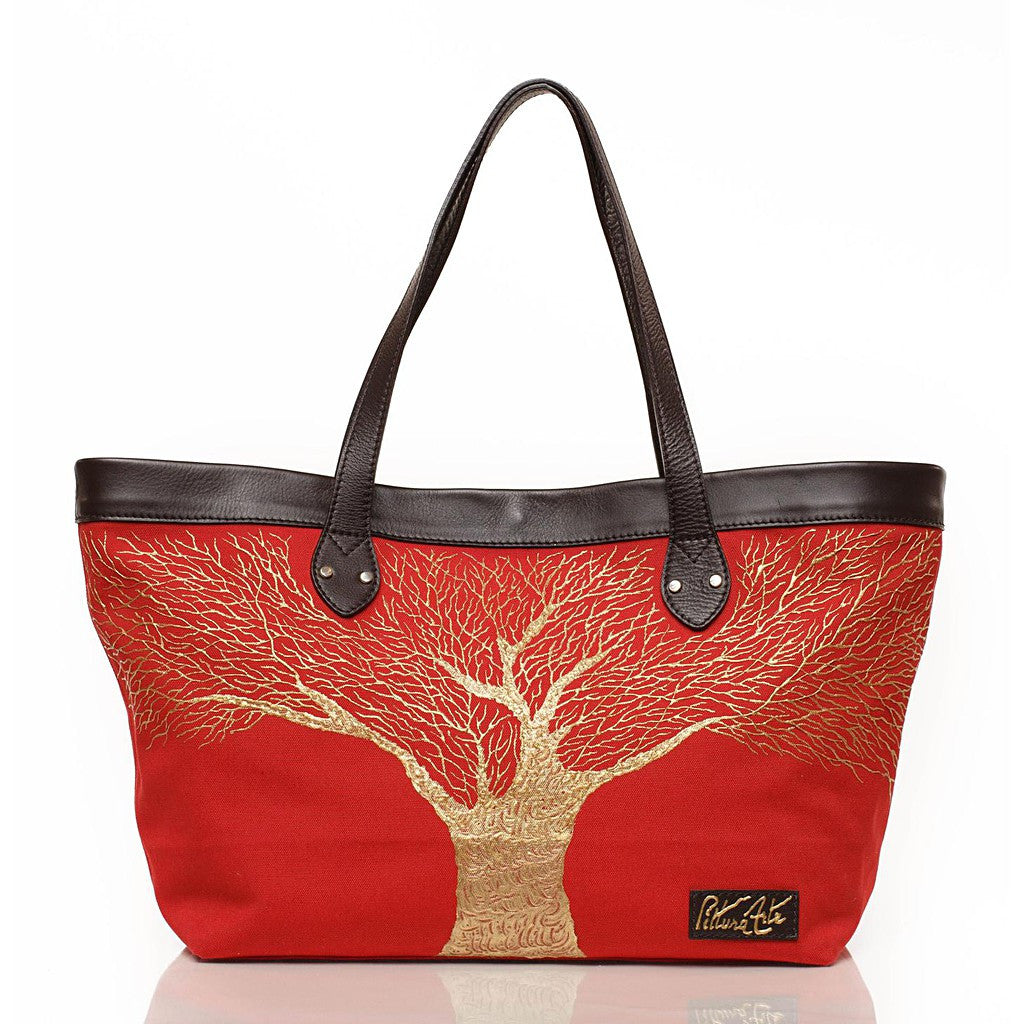Fire Engine Red Golden Roots Tote
