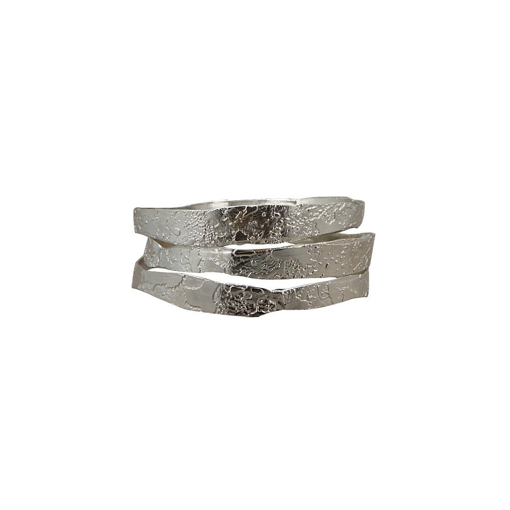 Hand Etched Silver Toned Bangles - set of 3
