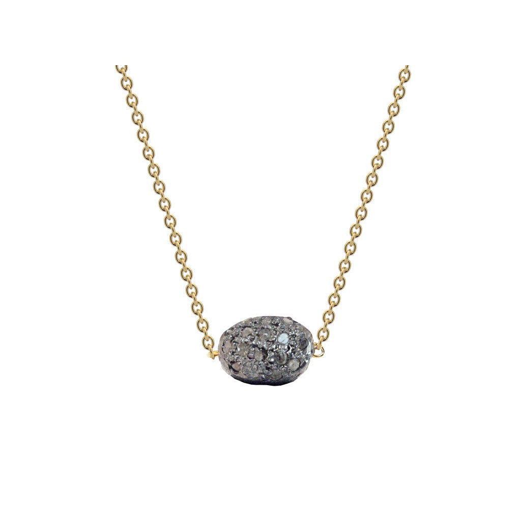 Diamond Encrusted Meteorite in Gold Plated Sterling Silver, 16""