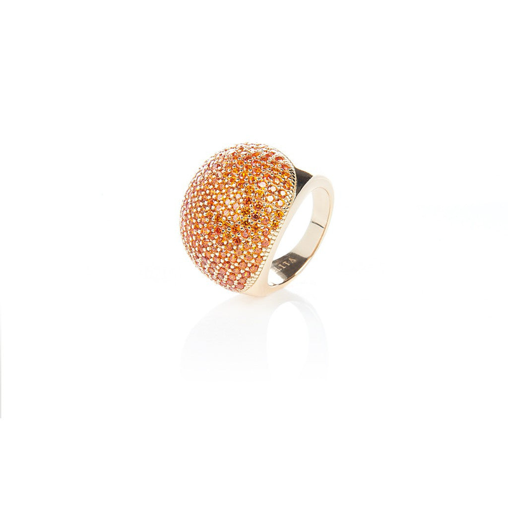 22ct Gold Vermeil Micro Pave Statement Cocktail  Ball Ring - Orange Zircon