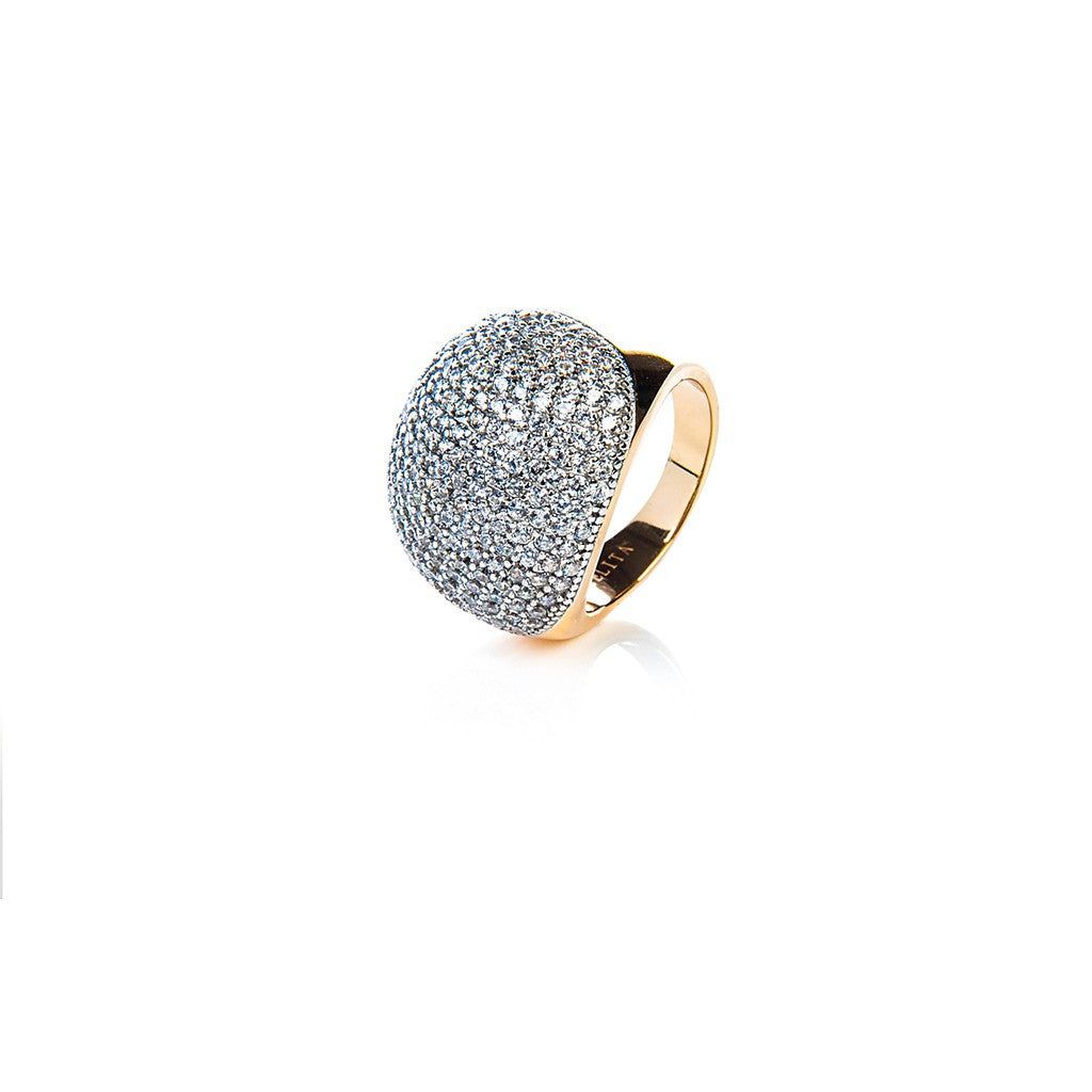 22ct Rose Gold Vermeil Micro Pave Statement Cocktail  Ball Ring - White Zircon