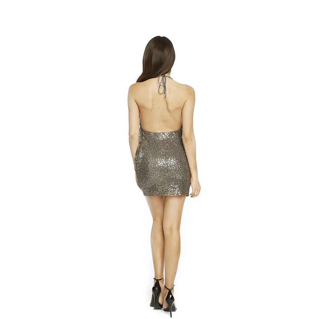 Cowl neck, open back, soft sequins cocktail dress