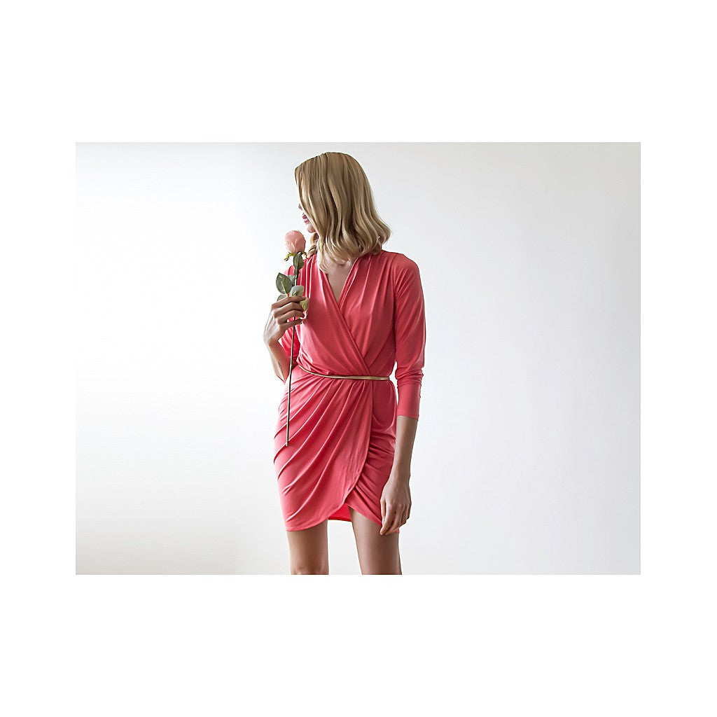 Coral mini wrap dress