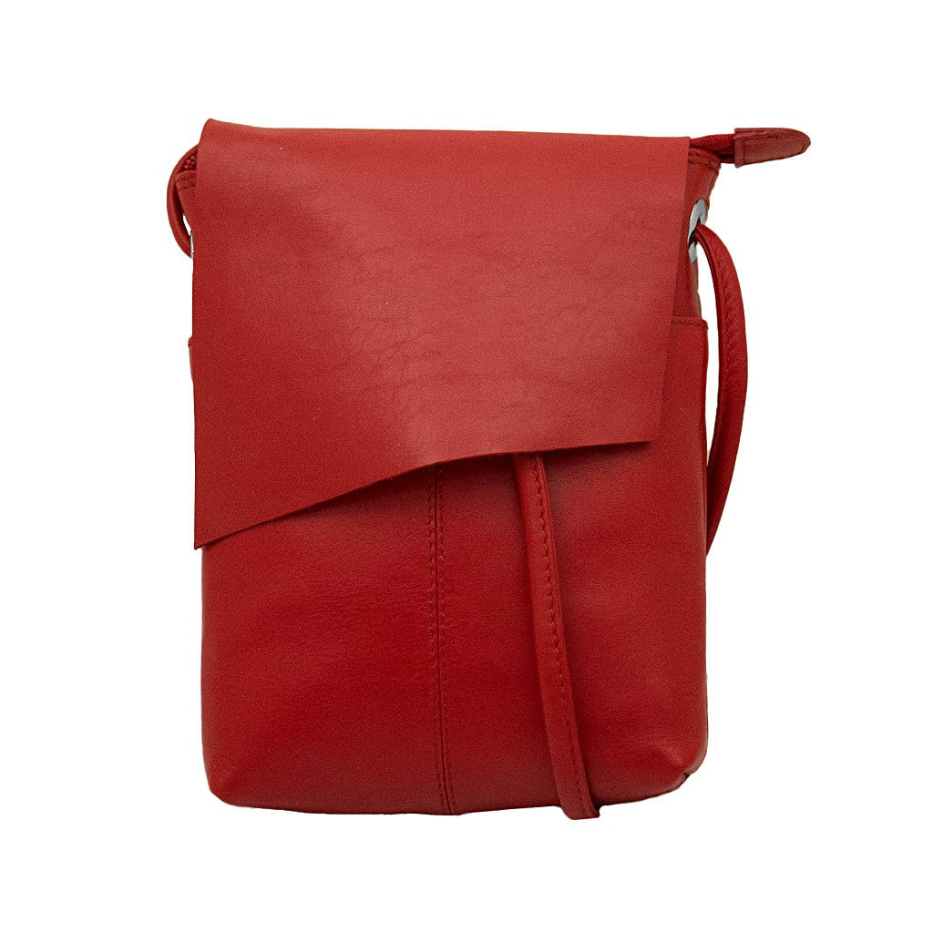 Leather Rawhide Flap Crossbody Bag - Red