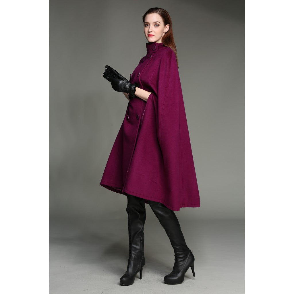 100% wool double breasted coat jacket cloak