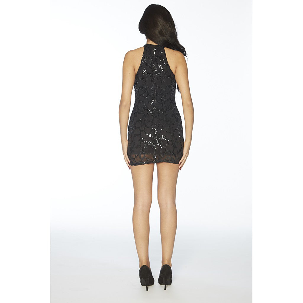 Keyhole, soft stretch sequins cocktail dress