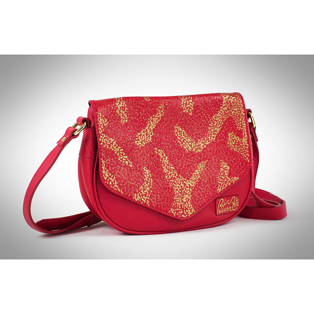 Red & Gold Pointilism Crossbody
