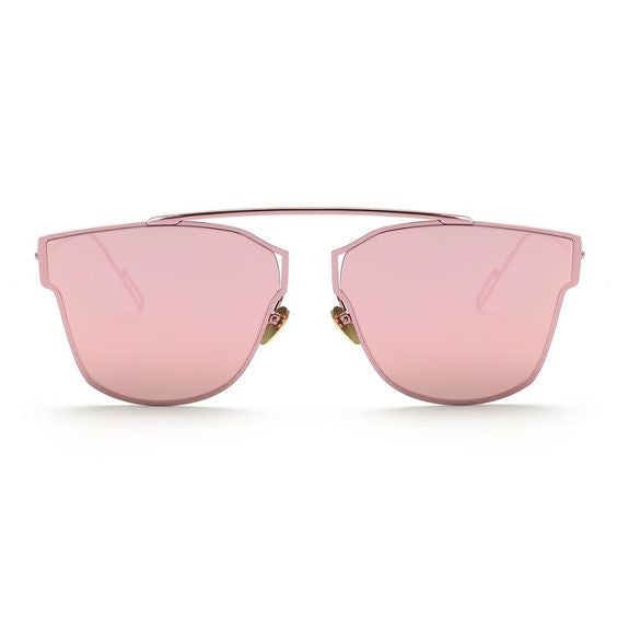 Pink Butterfly Reflective Mirror Sunglasses