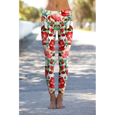 89498b257ec25 Pineapple Clothing. Love Song Lucy Red Summer Floral Performance Yoga  Leggings - Women