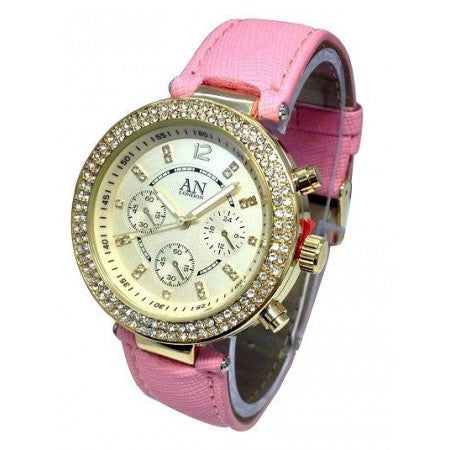 CRYSTAL STONE SET AN LONDON LADIES WATCH