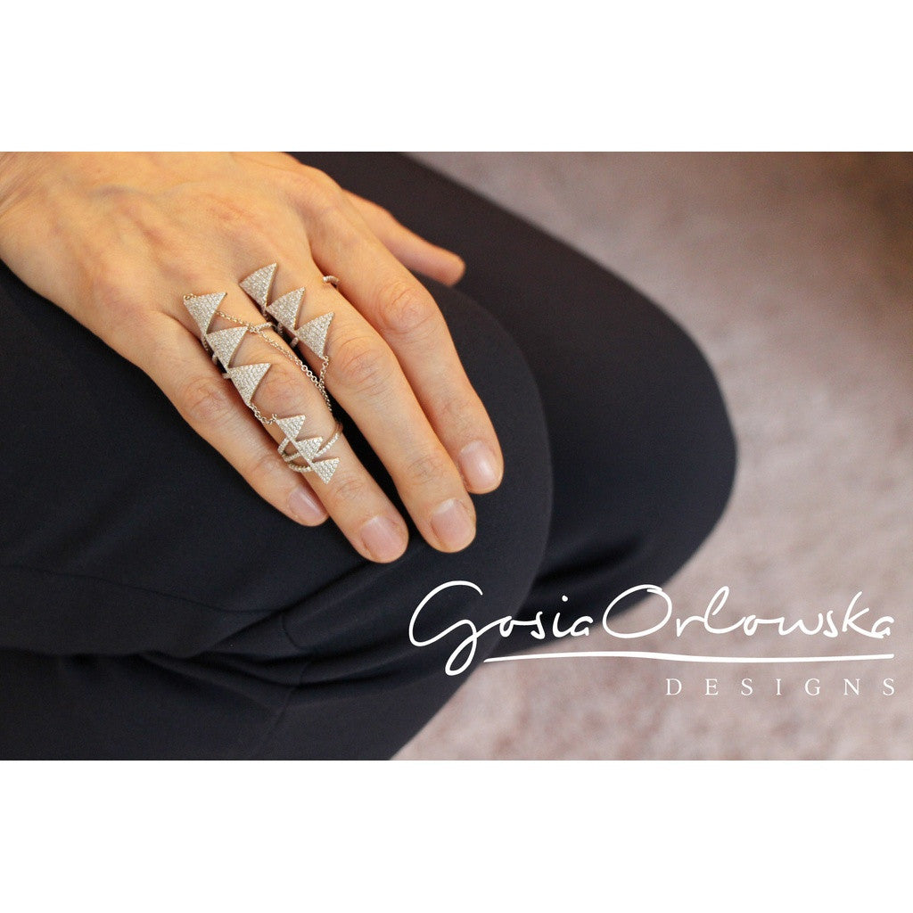 925 Sterling silver & zirconia double fingers ring