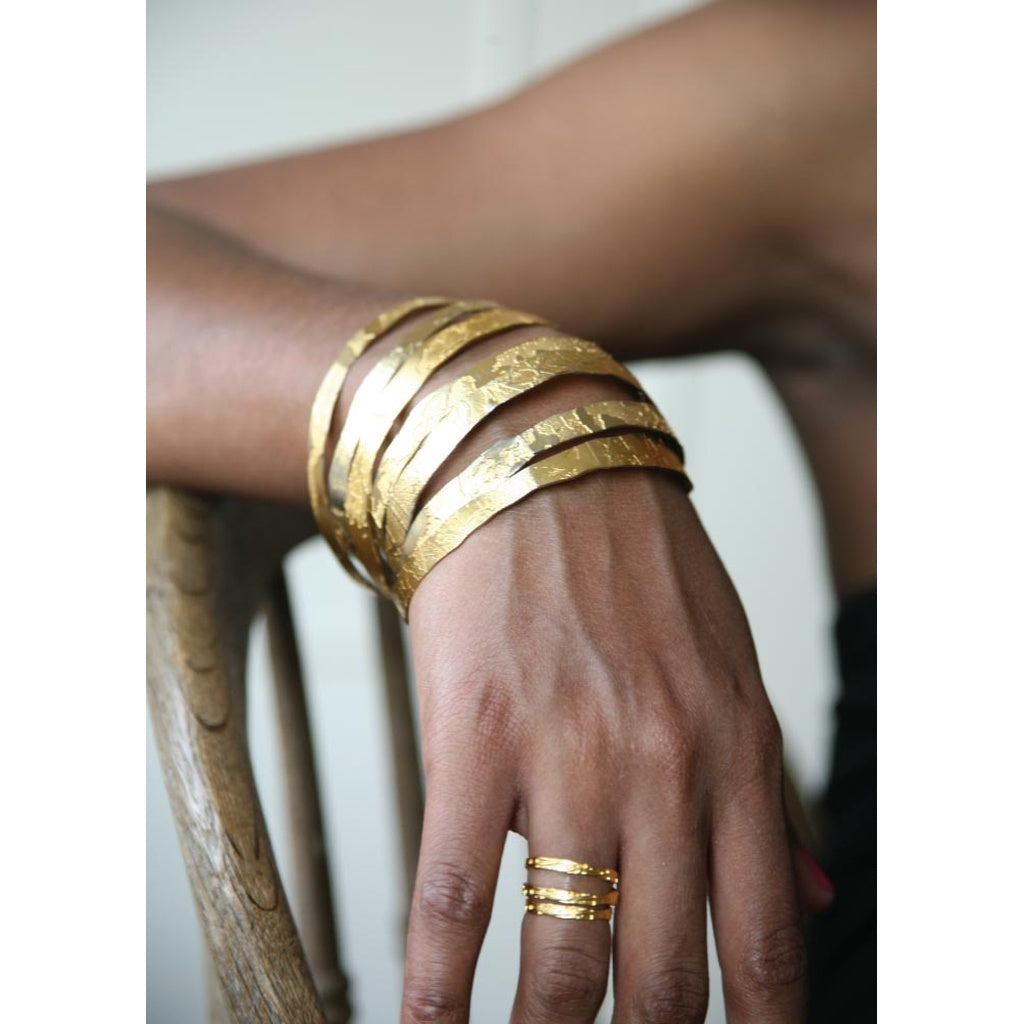 Hand Etched Gold Toned Bangles - set of 3