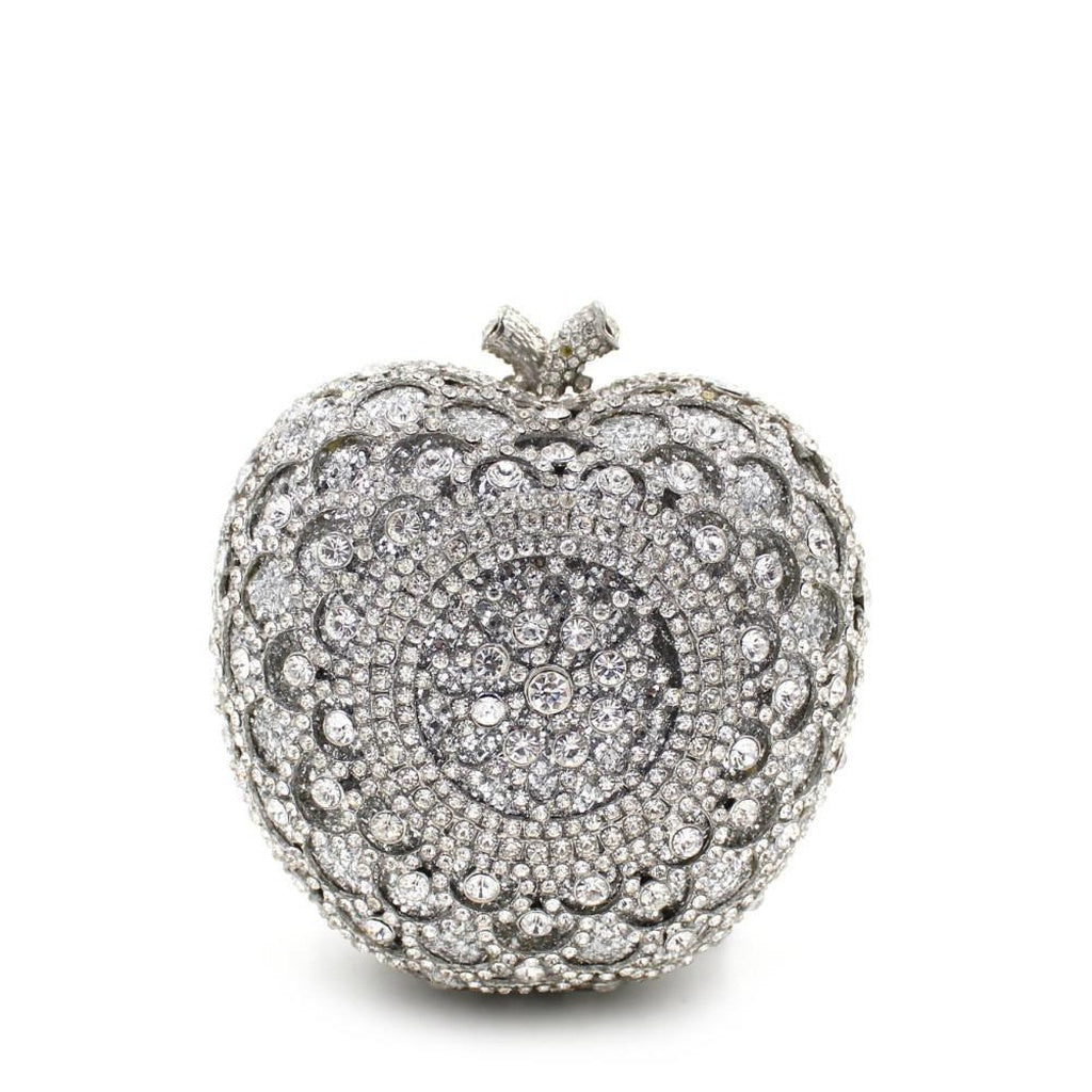 Apple Shape Bridal Metal Minaudiere Crystal Rhinestones Clutch Purse Bags