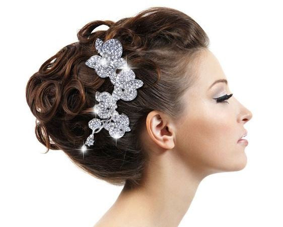 Austrian Crystal Flower Leaf Bridal Hair Comb