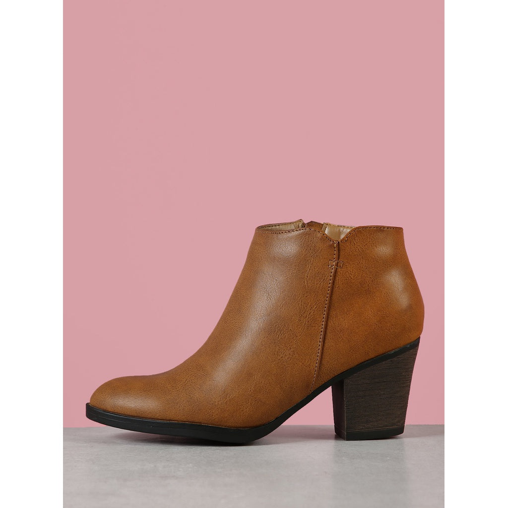 Almond Toe Faux Leather Chunky Heel Bootie