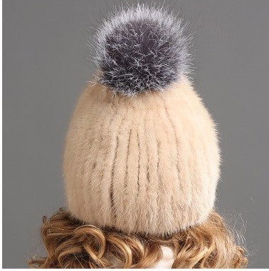 Mink Fur Hat with Fox Fur Ball