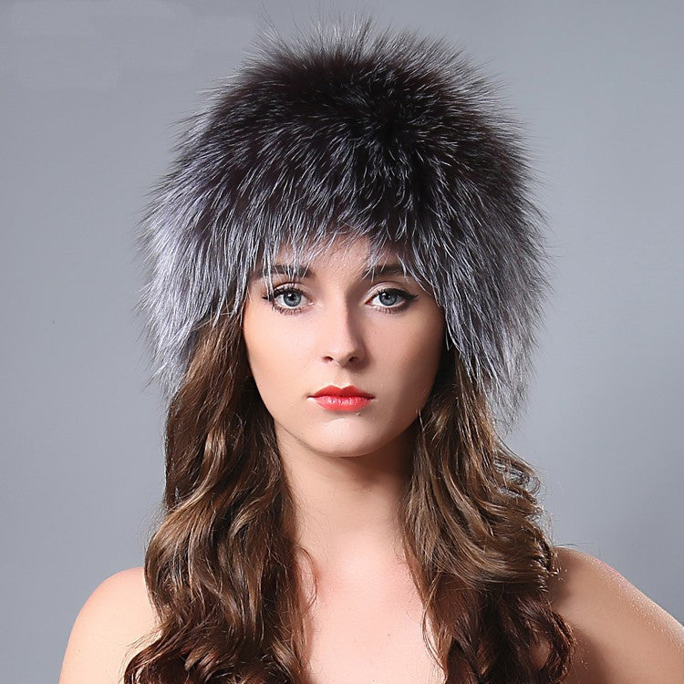 Fur knitted fox hat