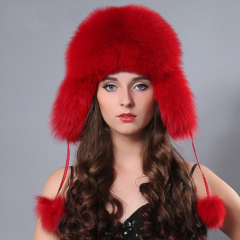 Fox fur bomber hat
