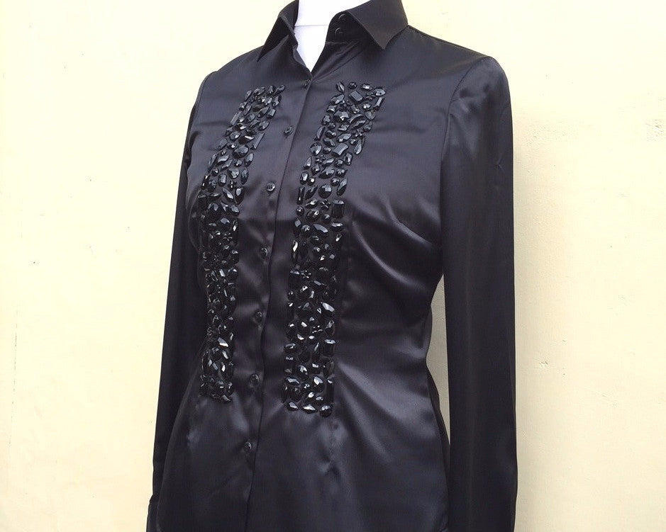 EMBROIDERED BLACK SATIN SHIRT - DOUBLE CUFF