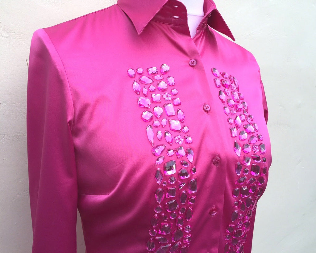 EMBROIDERED PINK SATIN SHIRT - SINGLE CUFF