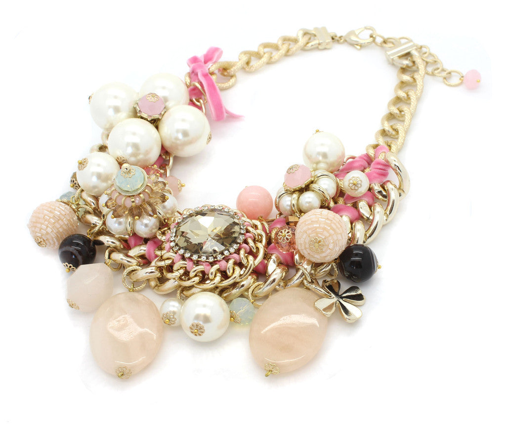 PINK AND PEARL CHUNKY CHAIN NECKLACE
