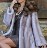 Silver blue mink fur coat with marten hood