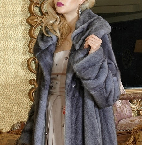 Blue Iris mink fur coat