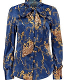 ROYAL BLUE CHAIN DESIGN FITTED SATIN SHIRT - PUSSY BOW
