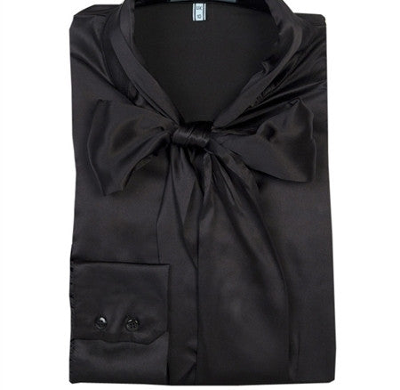BLACK FITTED SATIN BLOUSE - PUSSY BOW