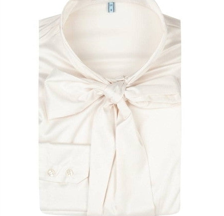 CREAM SLIM FITTED SATIN BLOUSE - PUSSY BOW