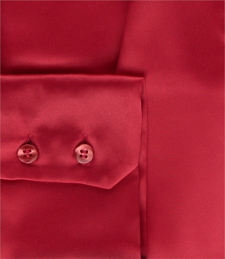 RED SLIM FITTED SATIN BLOUSE - PUSSY BOW