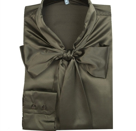 KHAKI FITTED SATIN BLOUSE - PUSSY BOW