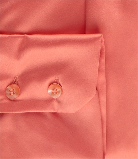 CORAL SLIM FITTED SATIN SHIRT - PUSSY BOW
